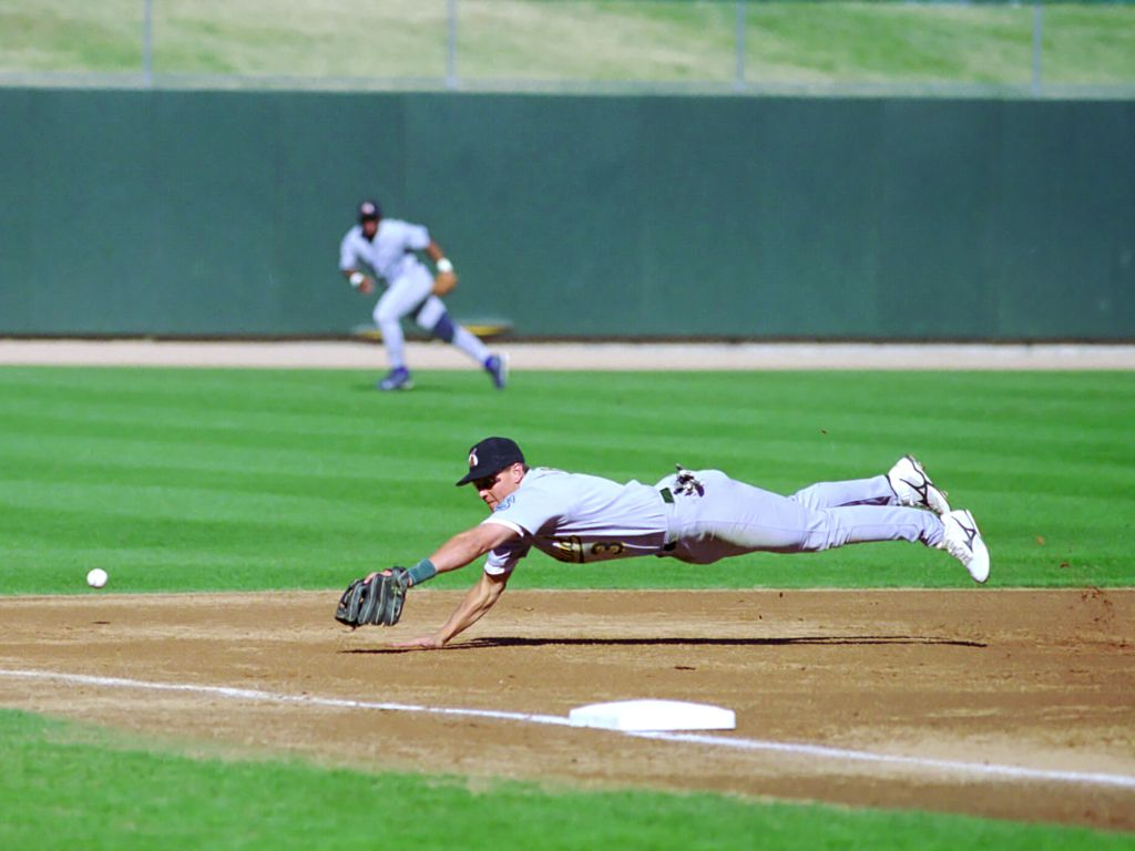Adam Piatt, now with the A´s, makes a dive in the 1999 Arizona Fall League.