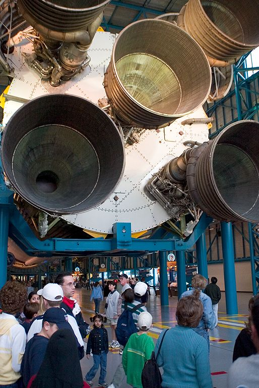 The first stage of a Saturn V rocket dwarfs onlookers. Dec. 27, 2002.  Click for next photo.