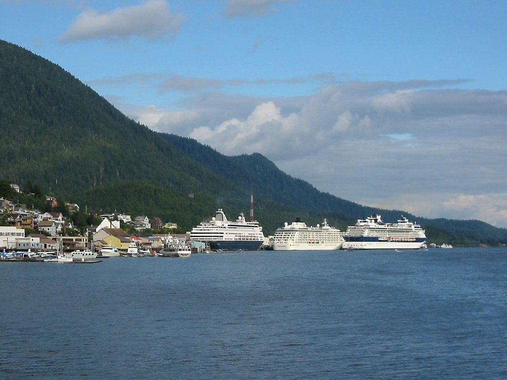 Cruise ships are by far the tallest buildings in downtown Ketchikan.  Click for next photo.