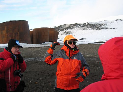 Naturalist Dorinda Dallmeyer explains the history of the whaling station on Deception Island, Dec. 5.