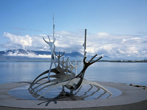 Viking ship sculpture in Reykjavik, Iceland, 2003.
