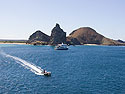 Zodiac returns from Santiago Island, Galapagos, Dec.17, 2004.