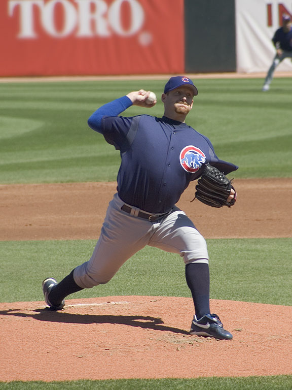 Cubs pitcher Ryan Dempster faces the Royals, spring 2005.  Click for next photo.