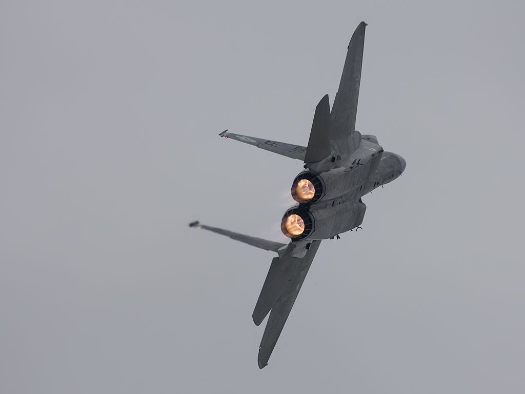 F-15 applies afterburner.  Click for next photo.