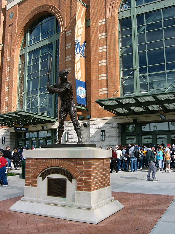 Henry Aaron statue, Miller Park, Milwaukee.  Click for next photo.