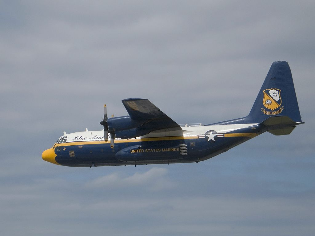 "Blue Angels C-130 support aircraft ""Fat Albert"", Rhode Island ANG 2005.  Click for next photo."
