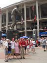 Cardinal fans pose by Stan the Man.