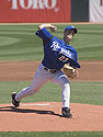Royals pitcher Zack Greinke faces the Cubs, spring 2005.