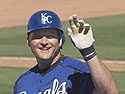 Mike Sweeney of the Royals spots someone in the crowd, Cactus League, Surprise, Arizona, March 2005.