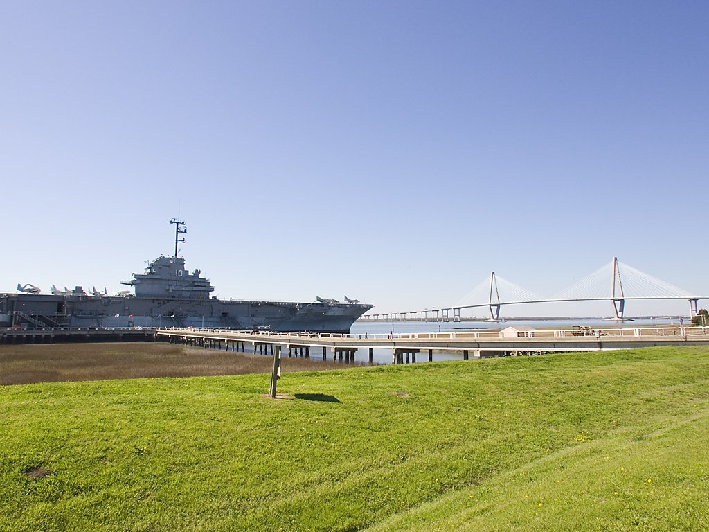 USS Yorktown and the Ravenel Bridge, Charleston, South Carolina, March 2008.  Click for next photo.