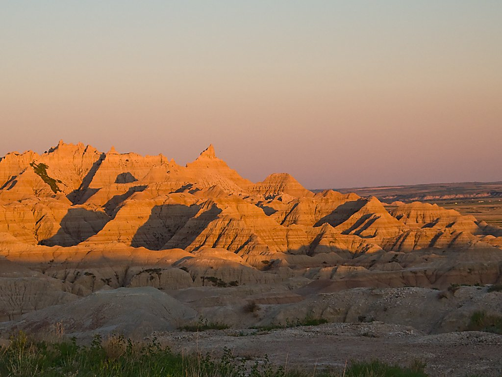 Badlands National Park at dusk, South Dakota, May 2009.  Click for next photo.