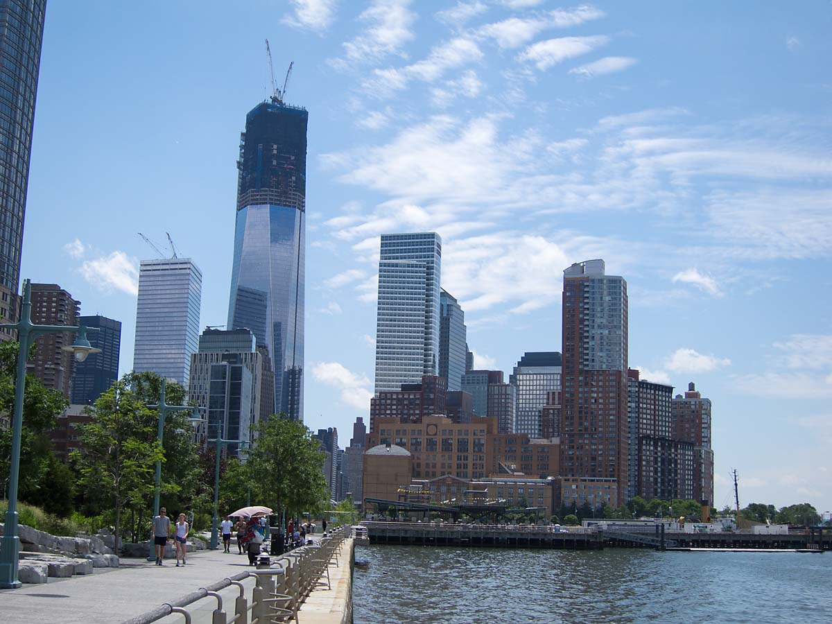 Looking south along the Hudson, One World Trade Center under construction, New York, June 2012.  Click for next photo.