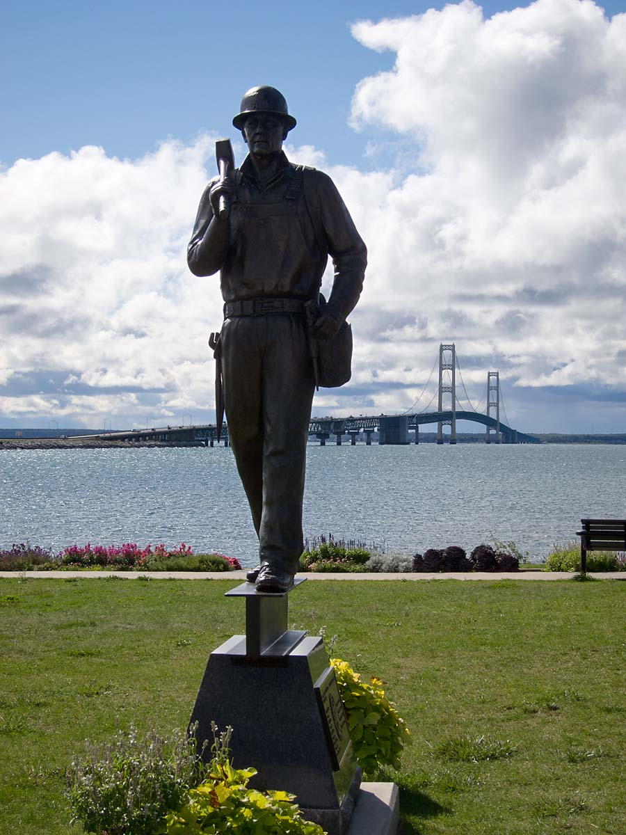 Monument to the builders of the Mackinac Bridge, Michigan, August 2012.  Click for next photo.