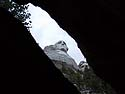 Mt. Rushmore as seen through a gap in the rock, October.