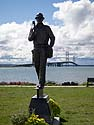 Monument to the builders of the Mackinac Bridge, Michigan, August 2012.