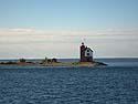 Round Island Light near the entrance to the Mackinac Island harbor, Michigan, August 2012.