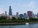 A view of Chicago from just off shore in Lake Michigan.  There´s the Willis Tower again.  Photo taken July 2013.