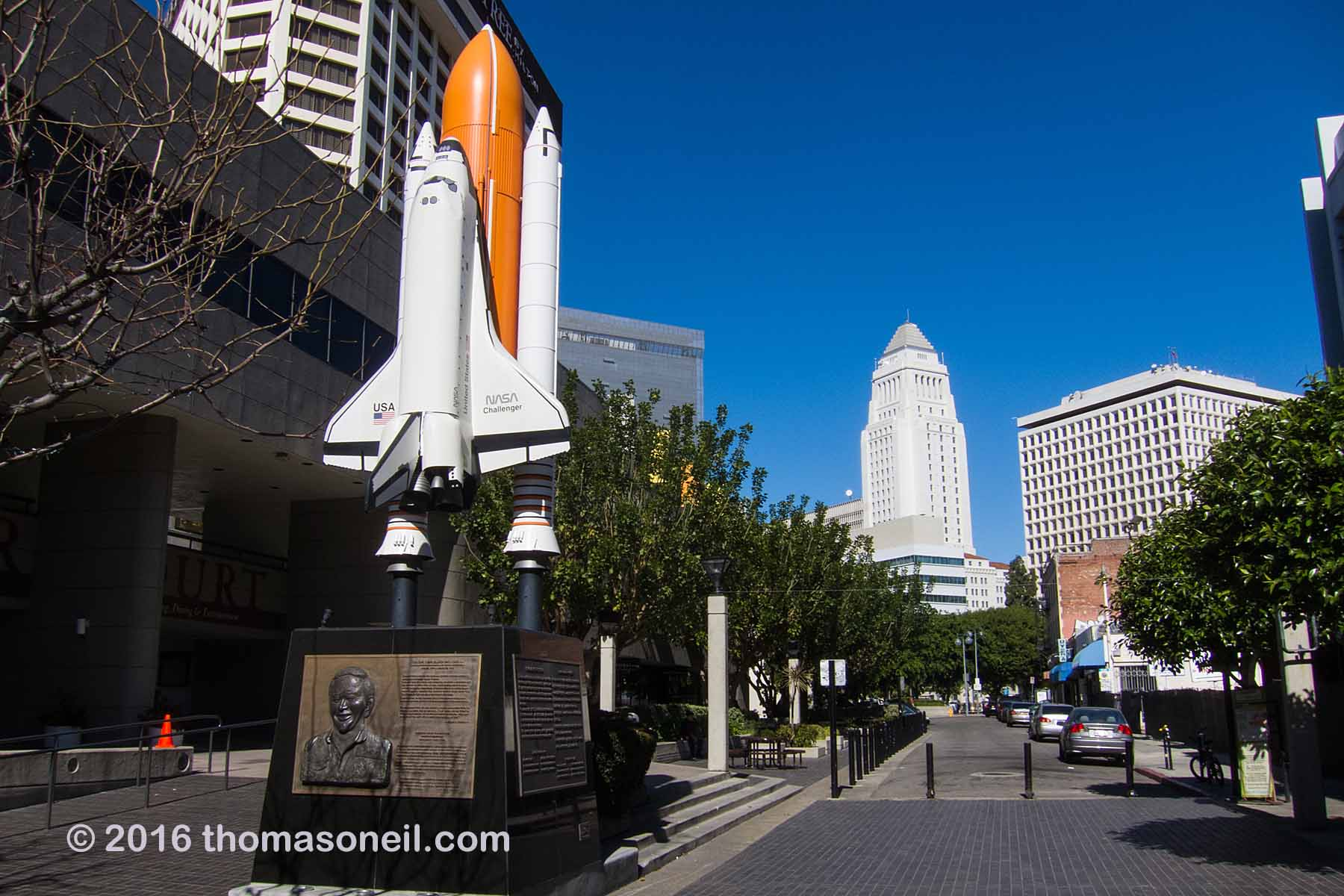 Los Angeles City Hall, as seen from the memorial in Little Tokyo for Challenger astronaut Ellison Onizuka.  Click for next photo.