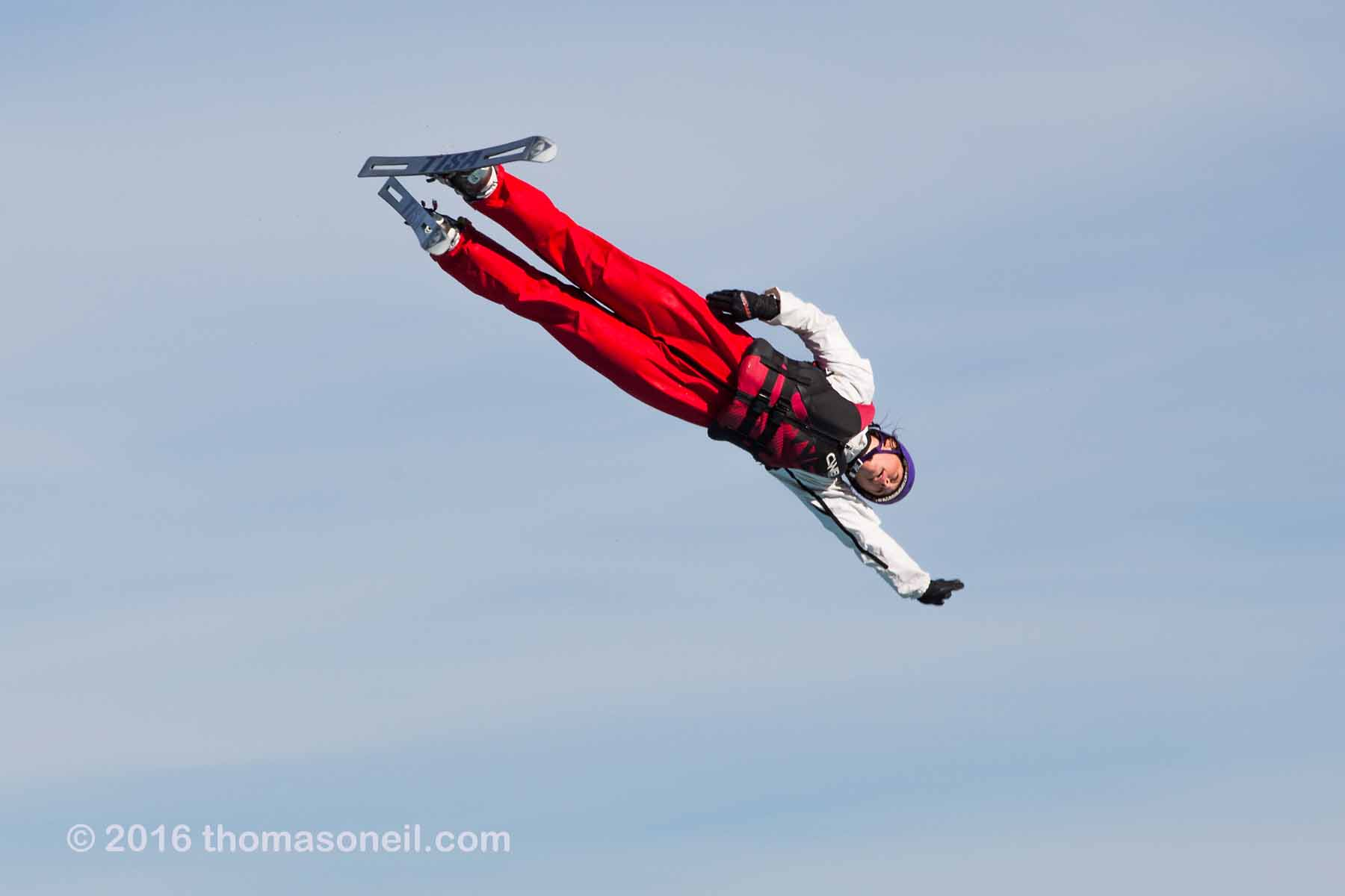 Aerial skiers at U.S. Olympic Training Complex in Park City, UT, October 2016.  Click for next photo.