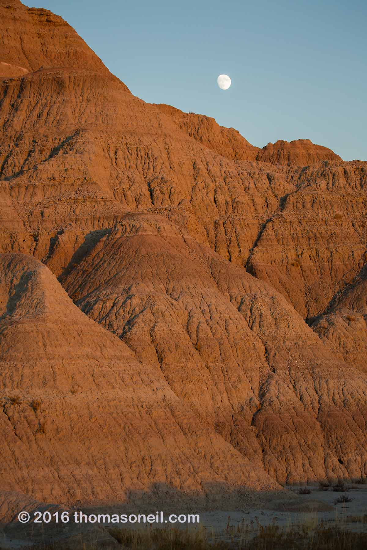 The last rays of the setting sun light the Badlands as the almost-full moon rises, 2016.  Click for next photo.