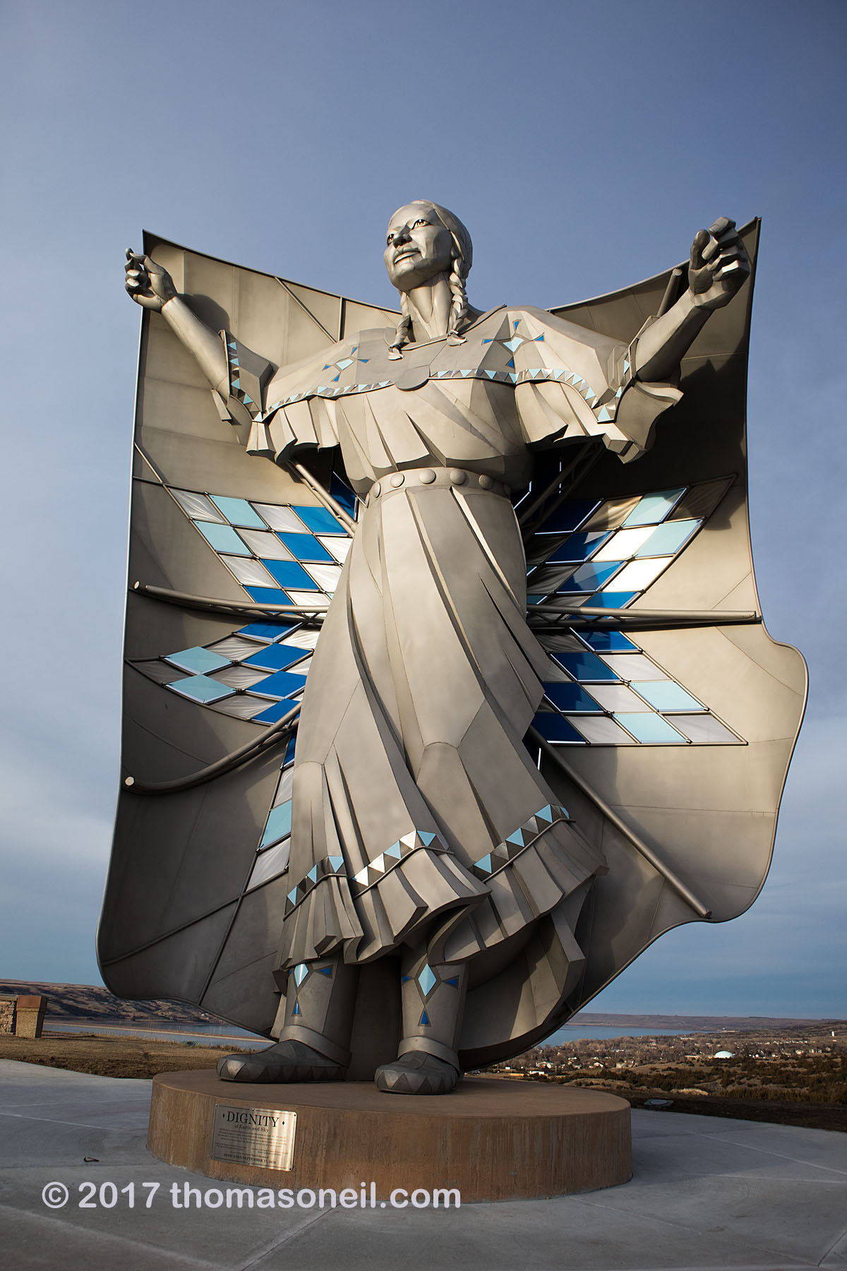 """Dignity"" sculpture at Chamberlain I-90 rest stop, South Dakota, November 2017.    Click for next photo."