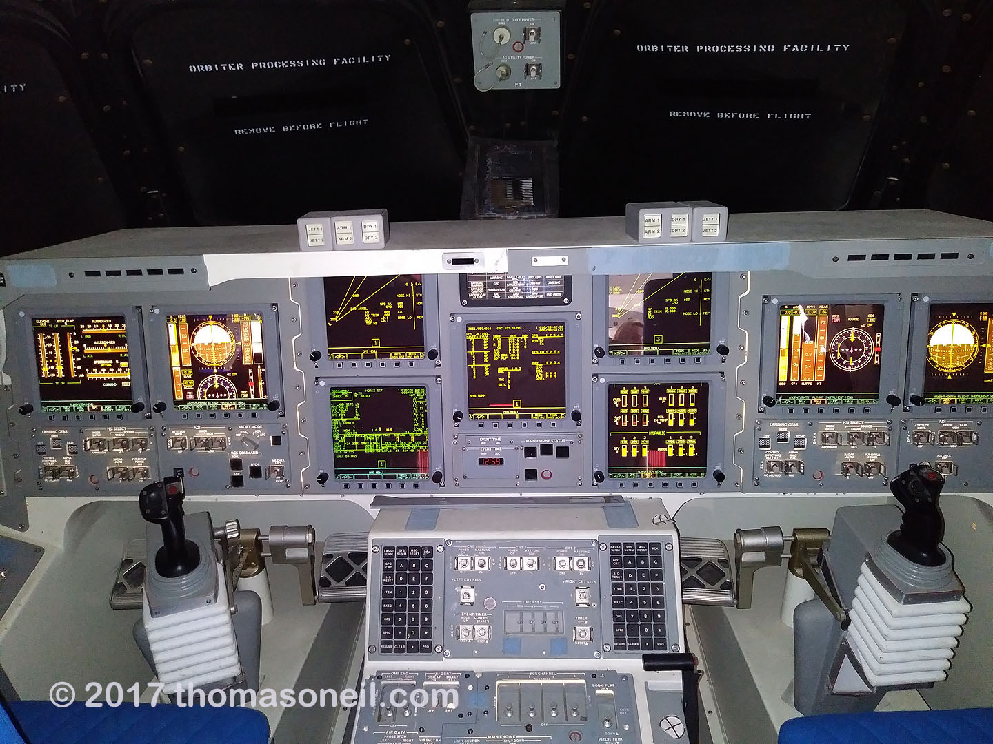 Control panel for Space Shuttle replica Independence, Johnson Space Center, Houston, July 2017.  Click for next photo.