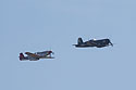P-51 Mustang Red Tail chases F-4U Corsair, Sioux Falls Air Show, August 2019.
