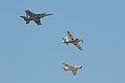 Heritage flight, Sioux Falls Air Show, August 2019.  The flight featured Navy planes (from top) F/A-18 Hornet, AD-4 Skyraider, and FJ-4B Fury.