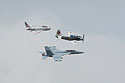 Heritage flight, Sioux Falls Air Show, August 2019.  The flight featured Navy planes (from top) FJ-4B Fury, AD-4 Skyraider, and F/A-18 Hornet.