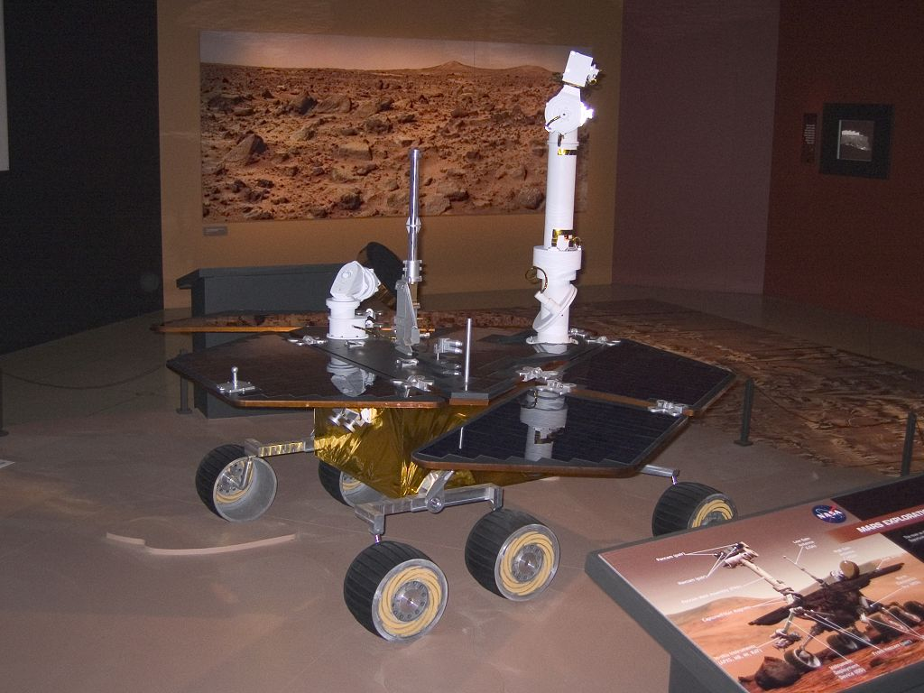 Full scale Mars rover, National Geographic Society, 2004.  Click for next photo.