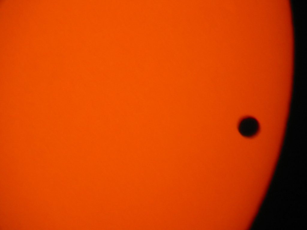 Venus transit, digiscoped with Canon S330 camera on Meade ETX 125 telescope.  Click for next photo.