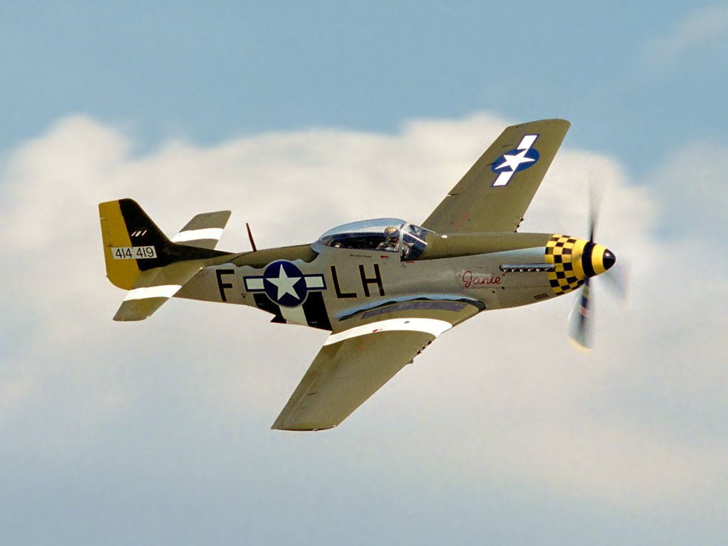 P-51 Mustang Janie, Flying Legends, Duxford, England, 2002.  Click for next photo.